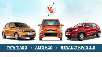 Tata Tiago Vs Renault Kwid 1.0 Vs Maruti Suzuki Alto K10 - Comparison check