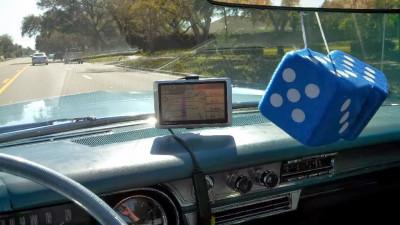 Furry dice hung inside the car