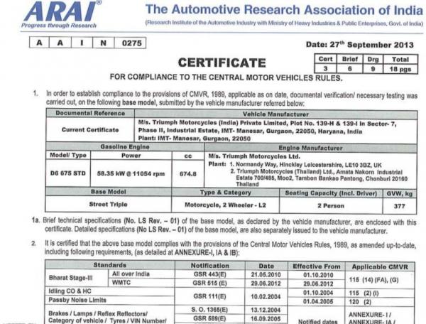 Triumph displays detuned specifications of models on websites | CarTrade.com