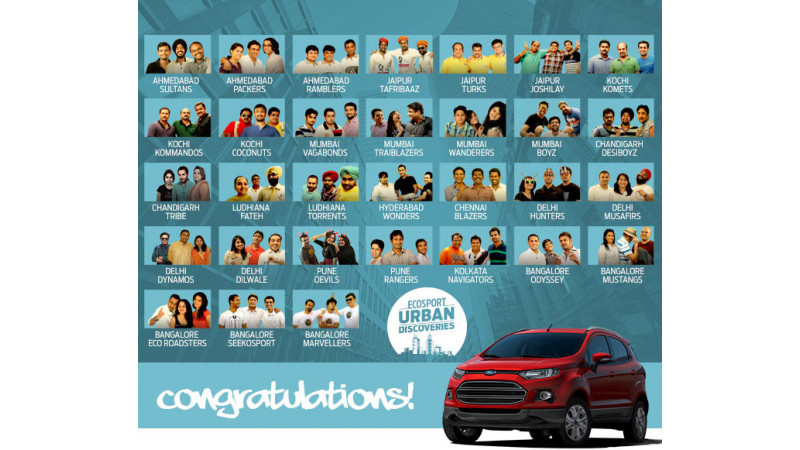 Ford India lists EcoSport Urban Discovery finalists on its website