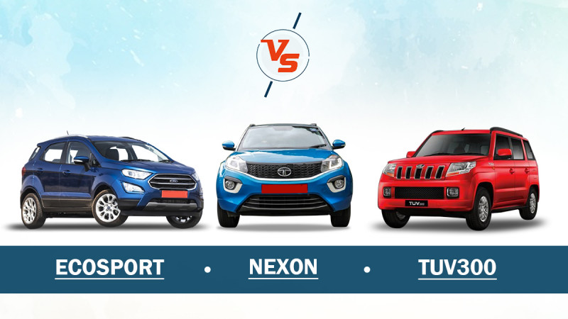Ford EcoSport Vs Tata Nexon Vs Mahindra TUV300 - Spec Comparison