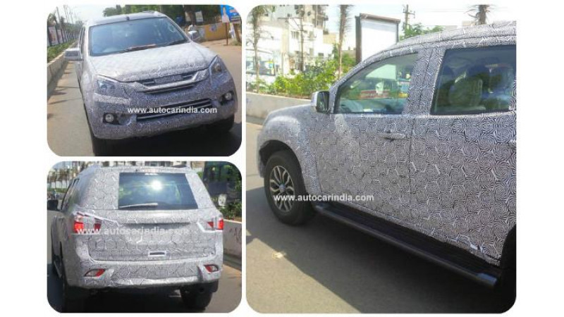 Isuzu MU-X snapped on test in India in a disguised avatar