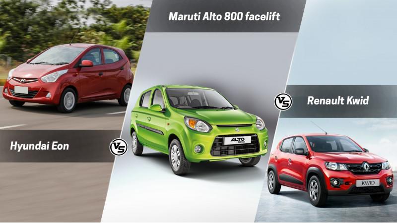 Maruti Suzuki Alto 800 facelift vs Renault Kwid vs Hyundai Eon: Spec Comparison