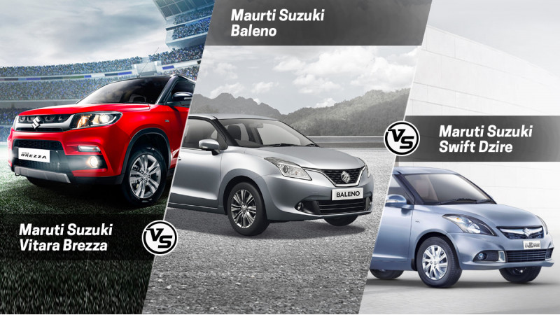 Maruti Suzuki Vitara vs Swift Dzire vs Baleno: Spec Comparison