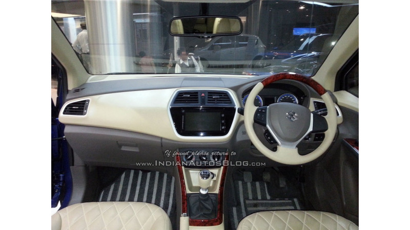 Maruti Suzuki S-Cross with wood-finish dual-tone interior spotted at dealership