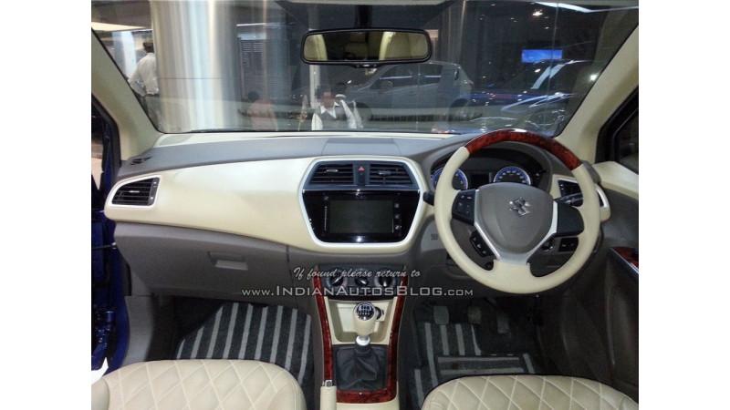 Maruti Suzuki S-Cross with wood-finish dual-tone interior spotted at dealership