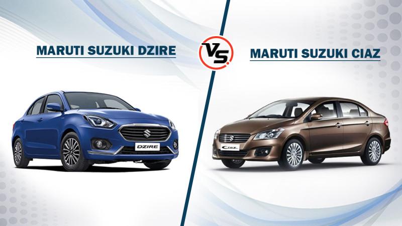 Spec Comparison: Maruti Suzuki Dzire vs Maruti Suzuki Ciaz