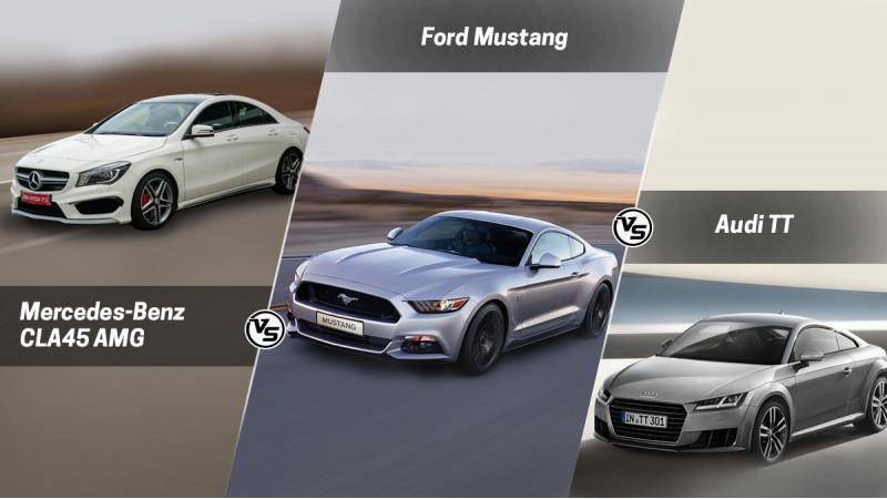 Spec Comparo: Ford Mustang Vs Mercedes-Benz CLA45AMG Vs Audi TT