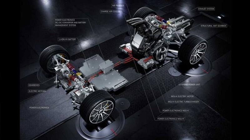 Mercedes AMG Project 1 revealed in underpinnings ahead of Frankfurt 2017