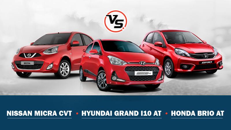 Spec comparo: Nissan Micra CVT Vs Honda Brio AT Vs Hyundai Grand i10 AT
