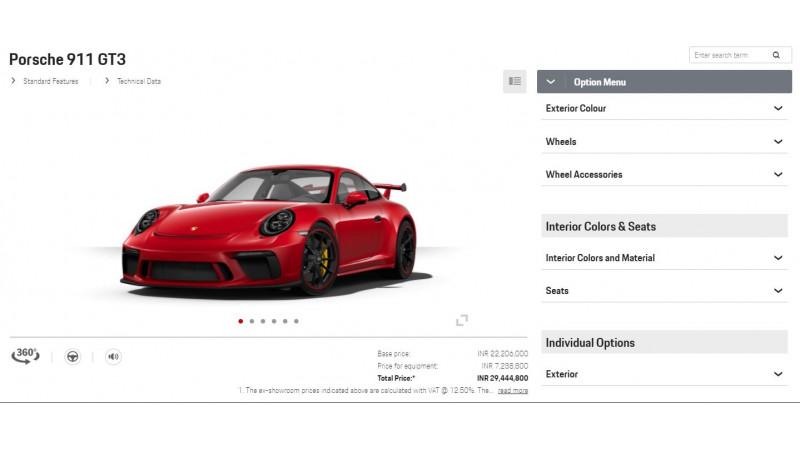 India-bound Porsche 911 GT3 configured