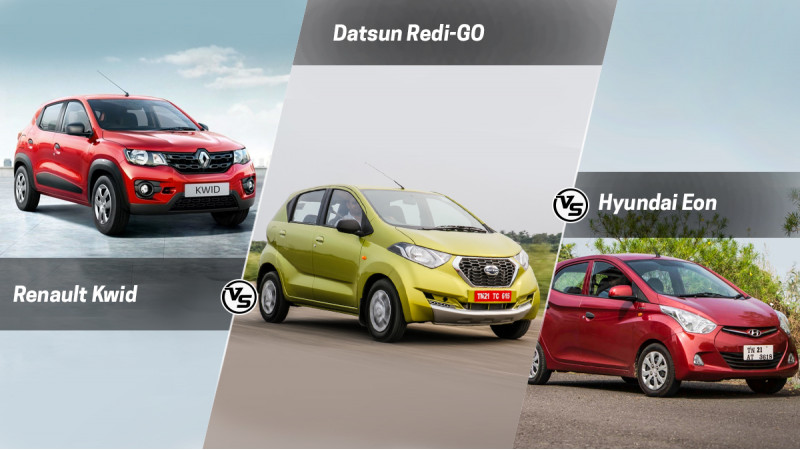 Renault Kwid Vs Datsun Redigo Vs Hyundai Eon
