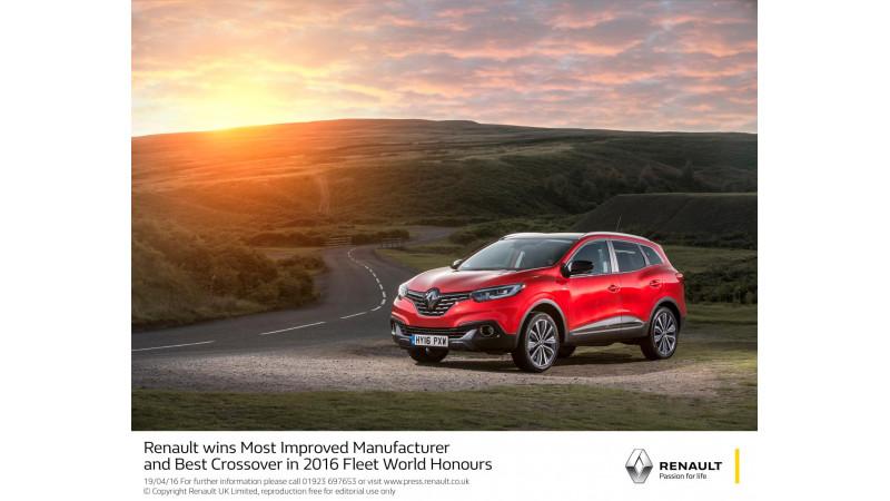 Renault awarded Most Improved Manufacturer in 2016 Fleet World Honours