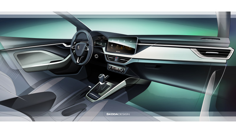 Skoda reveals interiors of Scala in concept sketch