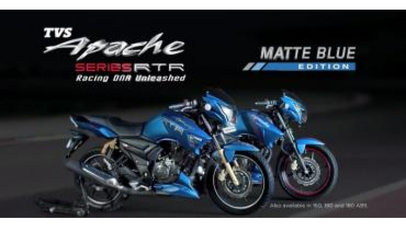 TVS Apache Matte Blue Edition launched in RTR 180 and RTR 160 this festive season
