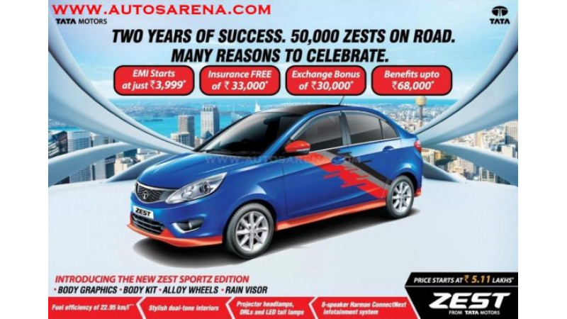 Tata introduces Zest Sportz to celebrate sales of 50,000 units