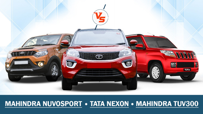Spec Comparo: Tata Nexon vs. Mahindra TUV300 vs. Mahindra NuvoSport