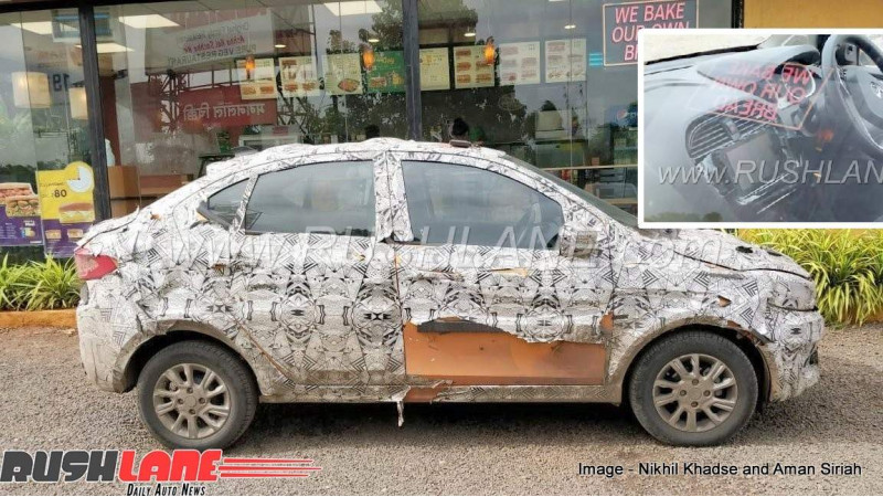 Tata Tigor test vehicle spotted with revised  touchscreen system
