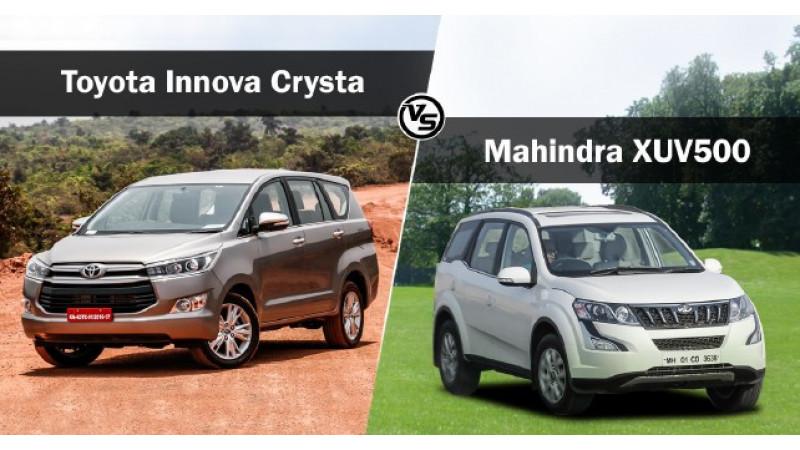 Toyota Innova Crysta vs Mahindra XUV500: Spec Comparison