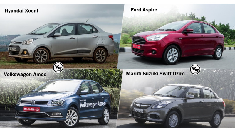 Spec comparo: VW Ameo Vs Hyundai Xcent Vs Maruti Suzuki Swift Dzire Vs Ford Aspire
