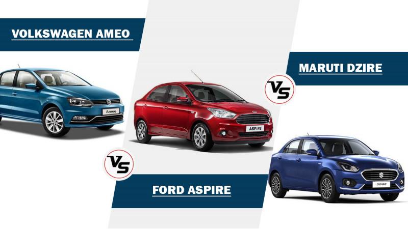 Volkswagen Ameo Vs Maruti Suzuki Dzire Vs Ford Aspire - Spec Comparison